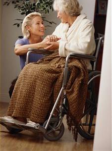 nurse and lady in wheel chair